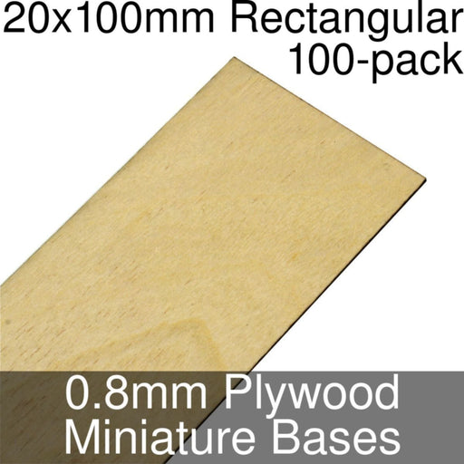 Miniature Bases, Rectangular, 20x100mm, 0.8mm Plywood (100) - LITKO Game Accessories