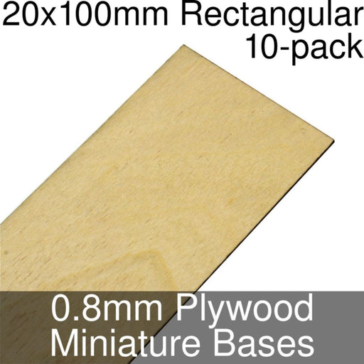 Miniature Bases, Rectangular, 20x100mm, 0.8mm Plywood (10) - LITKO Game Accessories