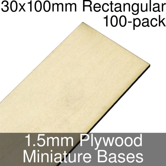 Miniature Bases, Rectangular, 30x100mm, 1.5mm Plywood (100) - LITKO Game Accessories