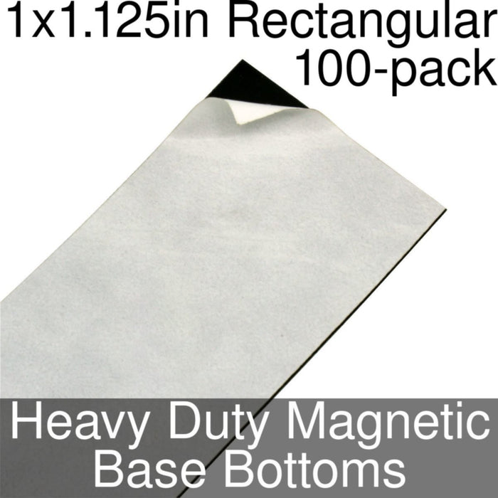 Miniature Base Bottoms, Rectangular, 1x1.125inch, Heavy Duty Magnet (100) - LITKO Game Accessories