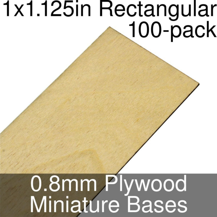 Miniature Bases, Rectangular, 1x1.125inch, 0.8mm Plywood (100) - LITKO Game Accessories