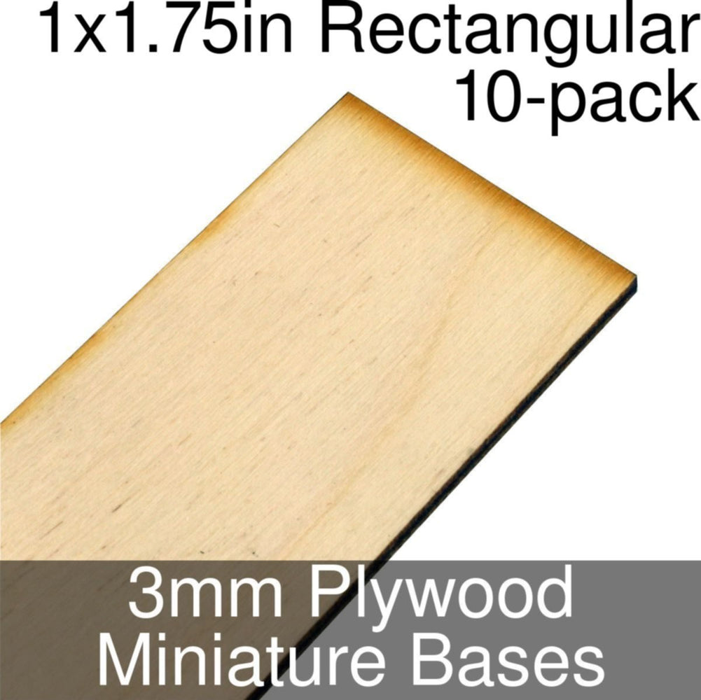 Miniature Bases, Rectangular, 1x1.75inch, 3mm Plywood (10) - LITKO Game Accessories
