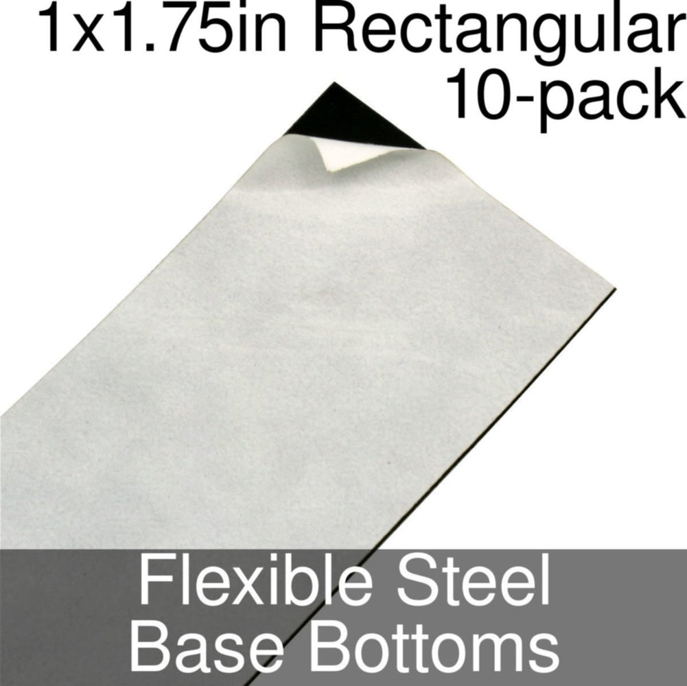 Miniature Base Bottoms, Rectangular, 1x1.75inch, Flexible Steel (10) - LITKO Game Accessories