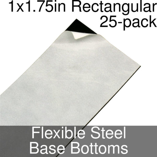 Miniature Base Bottoms, Rectangular, 1x1.75inch, Flexible Steel (25) - LITKO Game Accessories