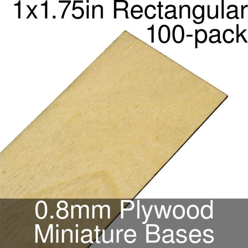 Miniature Bases, Rectangular, 1x1.75inch, 0.8mm Plywood (100) - LITKO Game Accessories