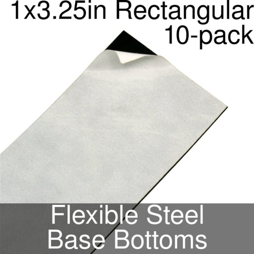 Miniature Base Bottoms, Rectangular, 1x3.25inch, Flexible Steel (10) - LITKO Game Accessories