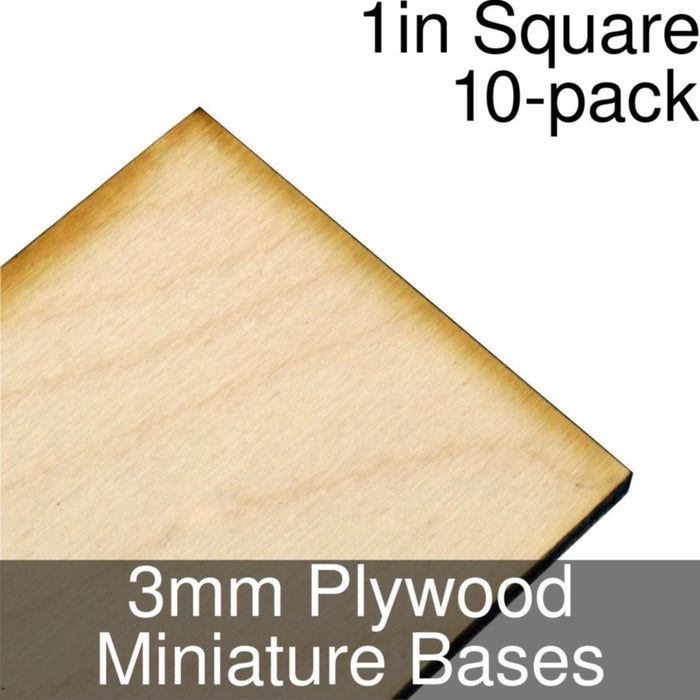 Miniature Bases, Square, 1inch, 3mm Plywood (10) - LITKO Game Accessories