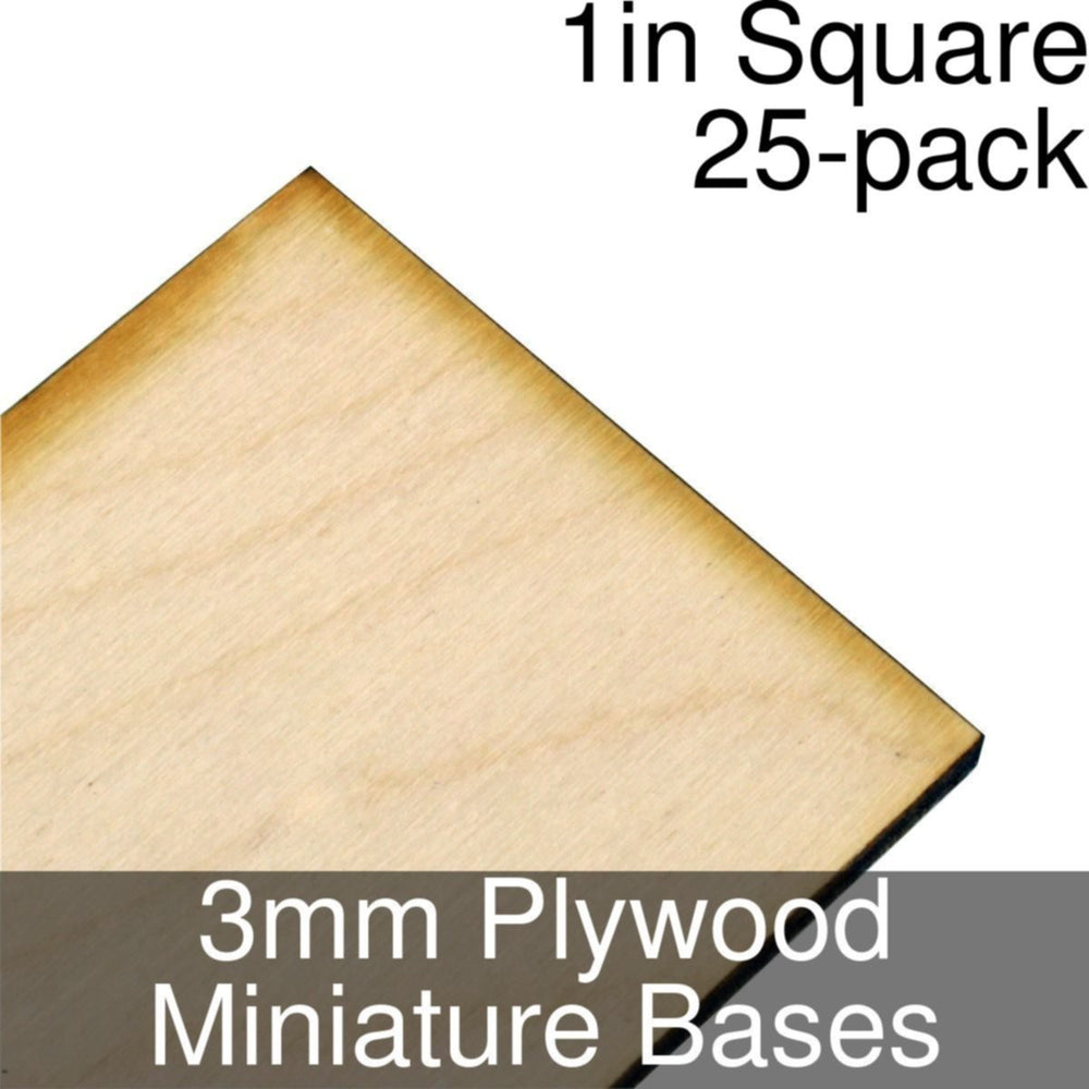 Miniature Bases, Square, 1inch, 3mm Plywood (25) - LITKO Game Accessories