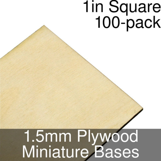 Miniature Bases, Square, 1inch, 1.5mm Plywood (100) - LITKO Game Accessories