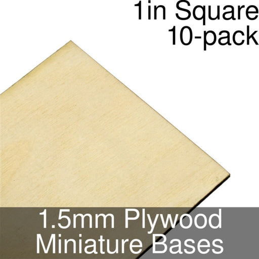 Miniature Bases, Square, 1inch, 1.5mm Plywood (10) - LITKO Game Accessories