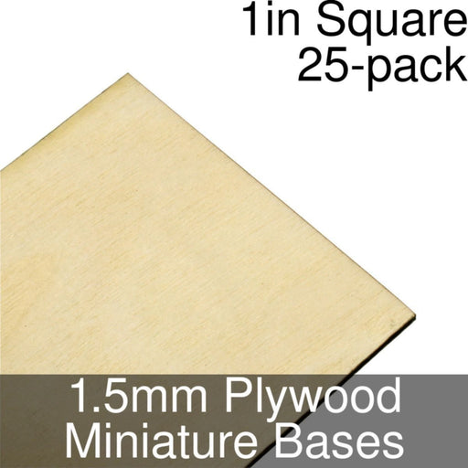 Miniature Bases, Square, 1inch, 1.5mm Plywood (25) - LITKO Game Accessories