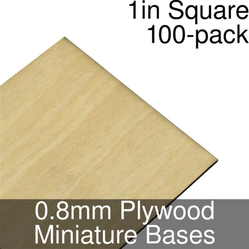 Miniature Bases, Square, 1inch, 0.8mm Plywood (100) - LITKO Game Accessories