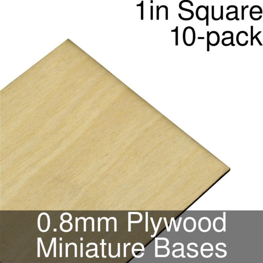 Miniature Bases, Square, 1inch, 0.8mm Plywood (10) - LITKO Game Accessories