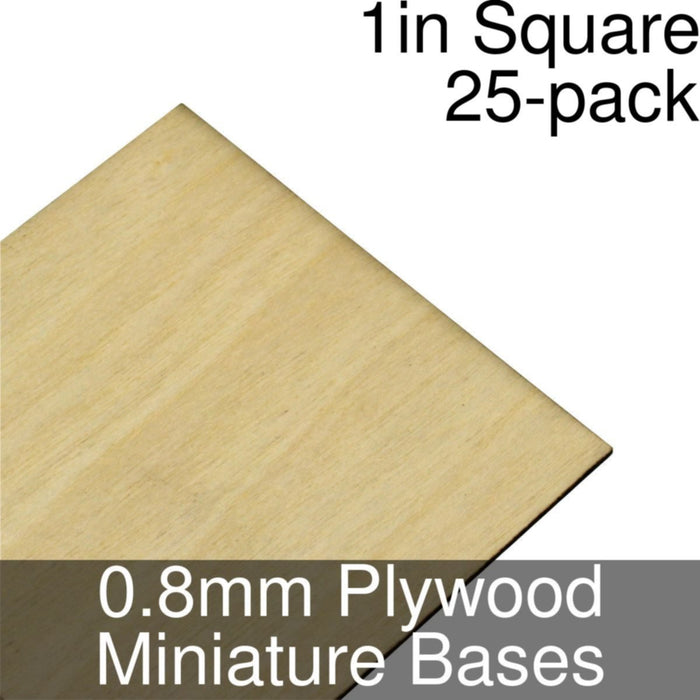 Miniature Bases, Square, 1inch, 0.8mm Plywood (25) - LITKO Game Accessories