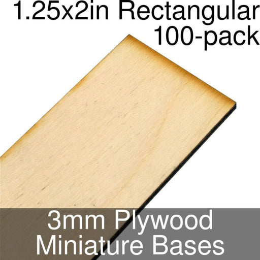 Miniature Bases, Rectangular, 1.25x2inch, 3mm Plywood (100) - LITKO Game Accessories