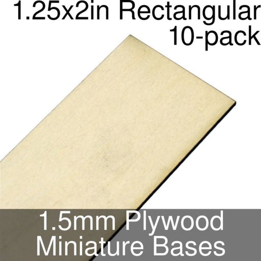 Miniature Bases, Rectangular, 1.25x2inch, 1.5mm Plywood (10) - LITKO Game Accessories