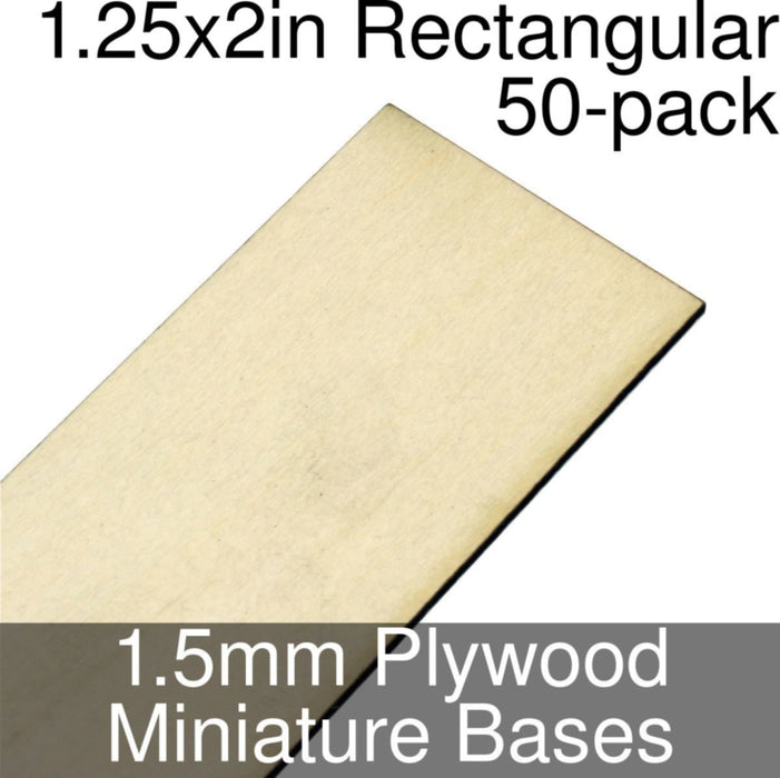 Miniature Bases, Rectangular, 1.25x2inch, 1.5mm Plywood (50) - LITKO Game Accessories