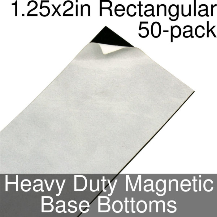 Miniature Base Bottoms, Rectangular, 1.25x2inch, Heavy Duty Magnet (50) - LITKO Game Accessories