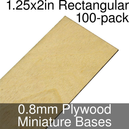 Miniature Bases, Rectangular, 1.25x2inch, 0.8mm Plywood (100) - LITKO Game Accessories