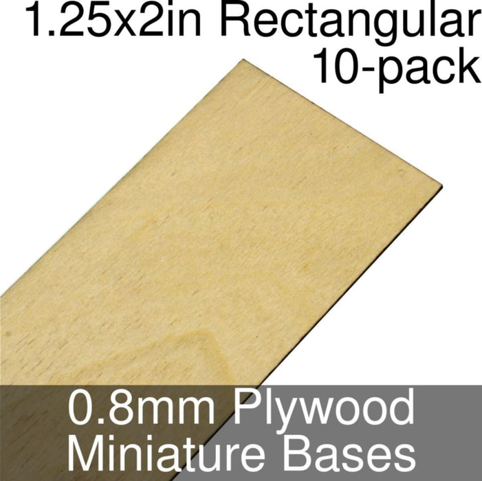 Miniature Bases, Rectangular, 1.25x2inch, 0.8mm Plywood (10) - LITKO Game Accessories
