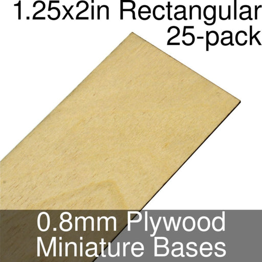 Miniature Bases, Rectangular, 1.25x2inch, 0.8mm Plywood (25) - LITKO Game Accessories