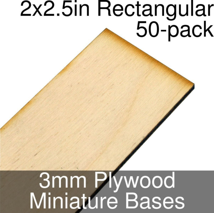 Miniature Bases, Rectangular, 2x2.5inch, 3mm Plywood (50) - LITKO Game Accessories