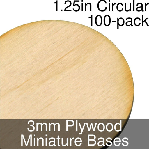 Miniature Bases, Circular, 1.25inch, 3mm Plywood (100) - LITKO Game Accessories