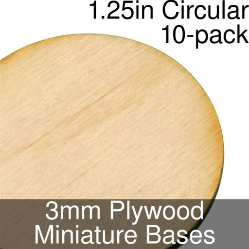 Miniature Bases, Circular, 1.25inch, 3mm Plywood (10) - LITKO Game Accessories