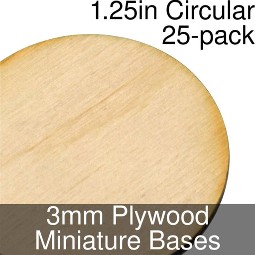 Miniature Bases, Circular, 1.25inch, 3mm Plywood (25) - LITKO Game Accessories