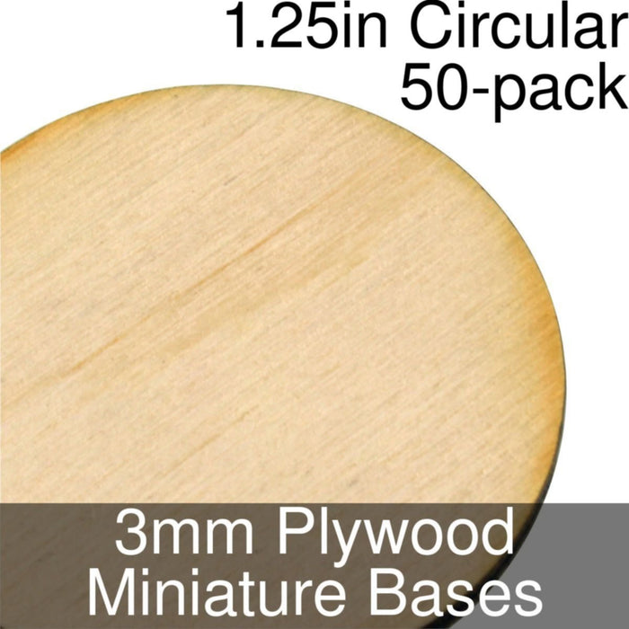 Miniature Bases, Circular, 1.25inch, 3mm Plywood (50) - LITKO Game Accessories