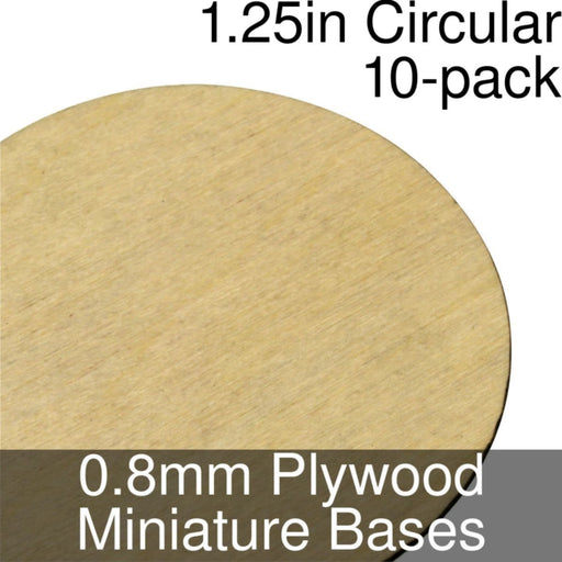 Miniature Bases, Circular, 1.25inch, 0.8mm Plywood (10) - LITKO Game Accessories