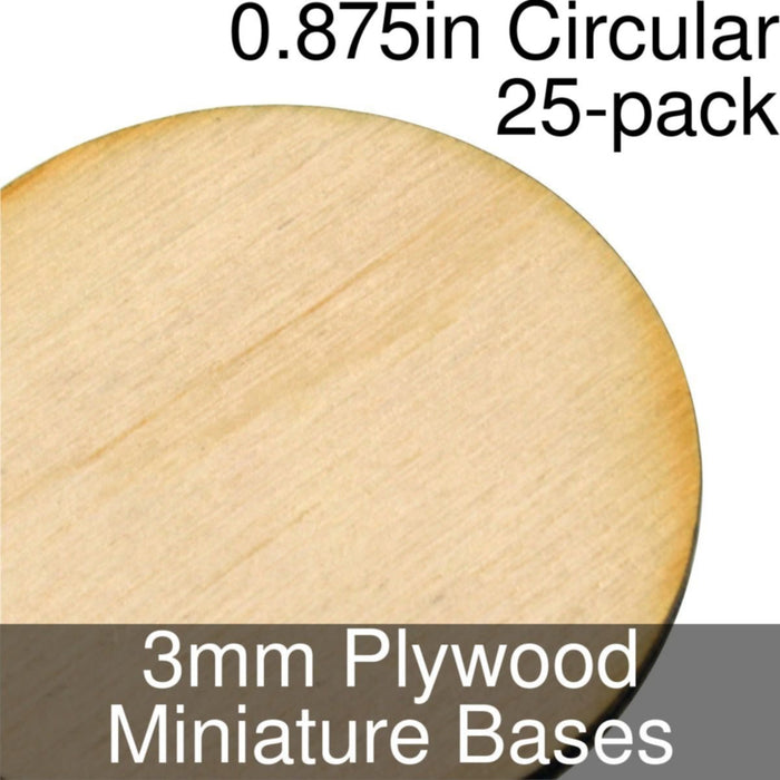 Miniature Bases, Circular, 0.875inch, 3mm Plywood (25) - LITKO Game Accessories