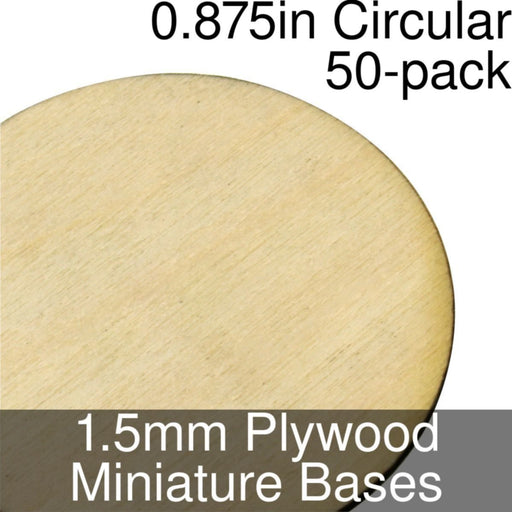 Miniature Bases, Circular, 0.875inch, 1.5mm Plywood (50) - LITKO Game Accessories