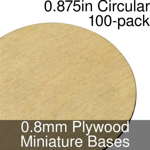 Miniature Bases, Circular, 0.875inch, 0.8mm Plywood (100) - LITKO Game Accessories