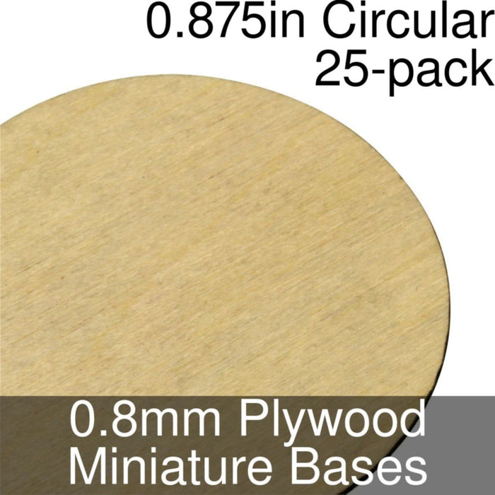 Miniature Bases, Circular, 0.875inch, 0.8mm Plywood (25) - LITKO Game Accessories
