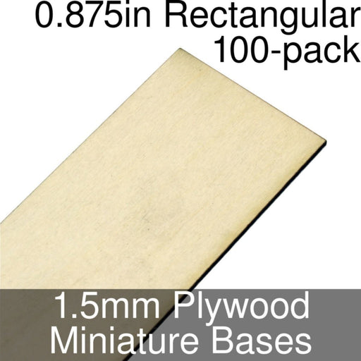 Miniature Bases, Rectangular, 0.875inch, 1.5mm Plywood (100) - LITKO Game Accessories