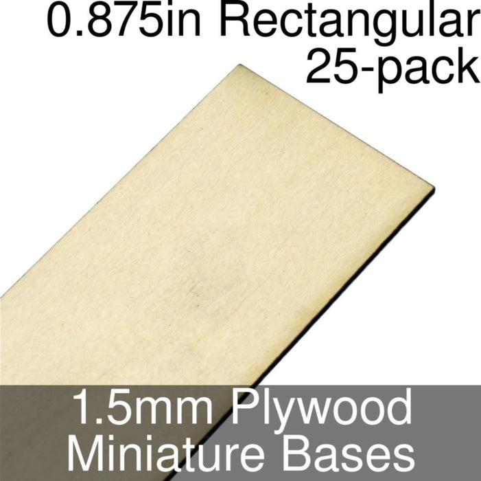 Miniature Bases, Rectangular, 0.875inch, 1.5mm Plywood (25) - LITKO Game Accessories