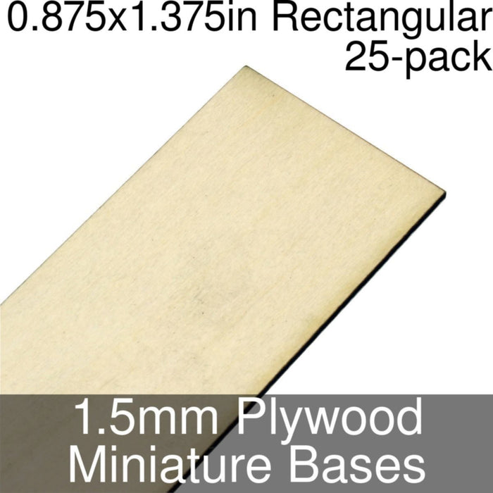 Miniature Bases, Rectangular, 0.875x1.375inch, 1.5mm Plywood (25) - LITKO Game Accessories