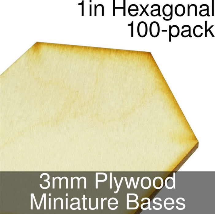 Miniature Bases, Hexagonal, 1inch, 3mm Plywood (100) - LITKO Game Accessories