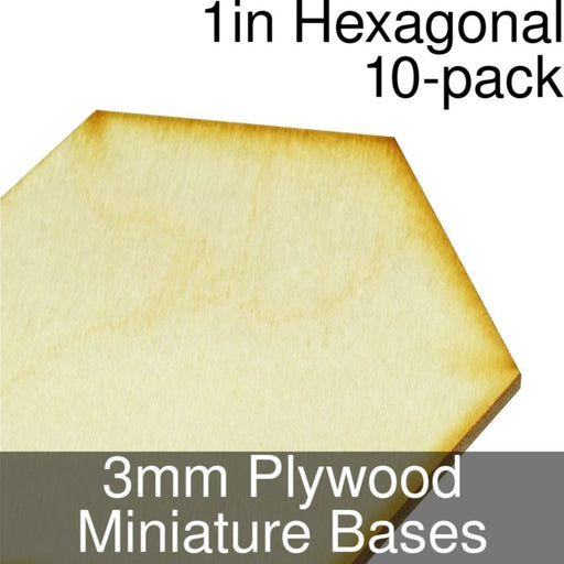 Miniature Bases, Hexagonal, 1inch, 3mm Plywood (10) - LITKO Game Accessories