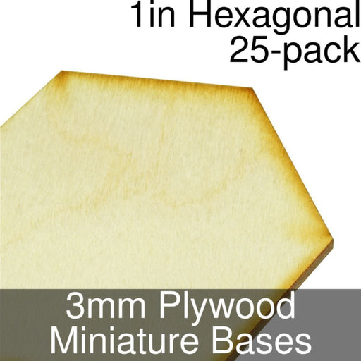 Miniature Bases, Hexagonal, 1inch, 3mm Plywood (25) - LITKO Game Accessories