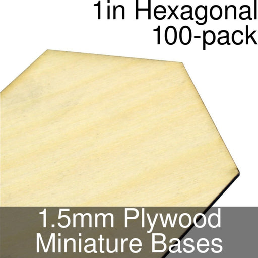 Miniature Bases, Hexagonal, 1inch, 1.5mm Plywood (100) - LITKO Game Accessories