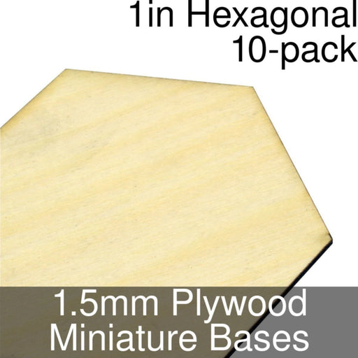Miniature Bases, Hexagonal, 1inch, 1.5mm Plywood (10) - LITKO Game Accessories