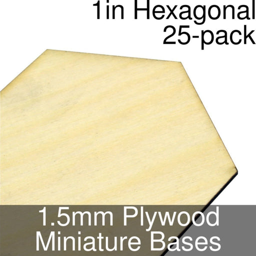 Miniature Bases, Hexagonal, 1inch, 1.5mm Plywood (25) - LITKO Game Accessories