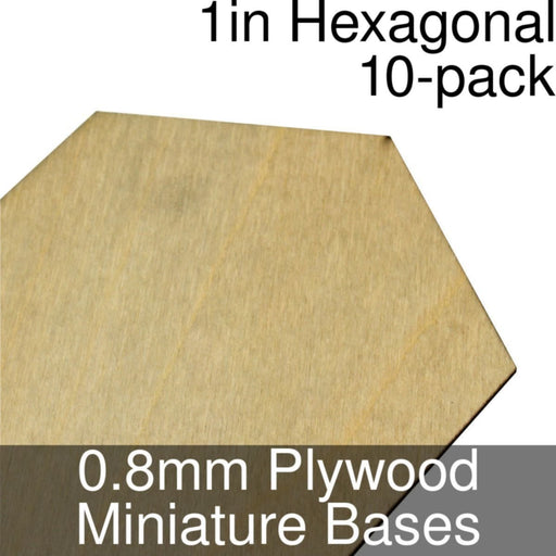 Miniature Bases, Hexagonal, 1inch, 0.8mm Plywood (10) - LITKO Game Accessories