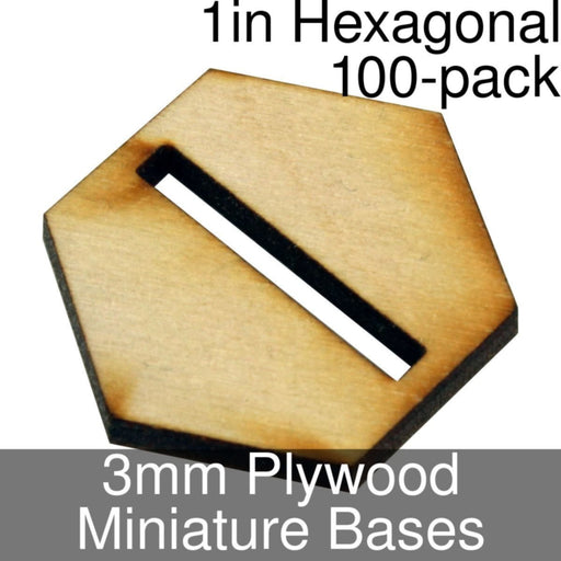 Miniature Bases, Hexagonal, 1in (Slotted), 3mm Plywood (100) - LITKO Game Accessories