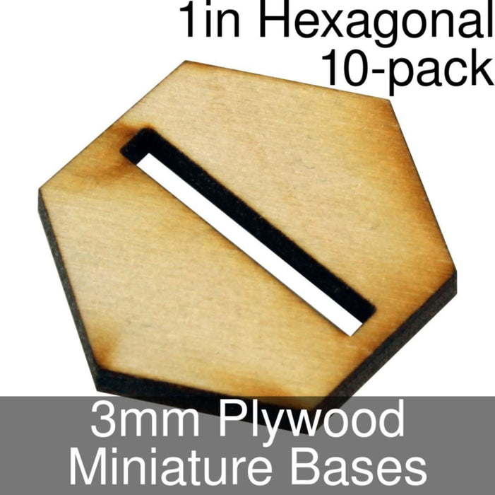 Miniature Bases, Hexagonal, 1in (Slotted), 3mm Plywood (10) - LITKO Game Accessories