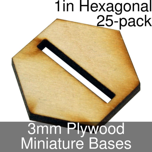 Miniature Bases, Hexagonal, 1in (Slotted), 3mm Plywood (25) - LITKO Game Accessories