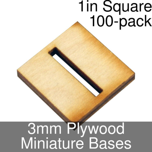 Miniature Bases, Square, 1in (Slotted), 3mm Plywood (100) - LITKO Game Accessories