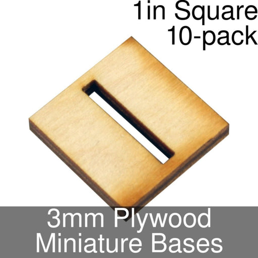 Miniature Bases, Square, 1in (Slotted), 3mm Plywood (10) - LITKO Game Accessories